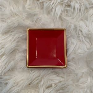 J Crew Red and Gold Jewelry Trays